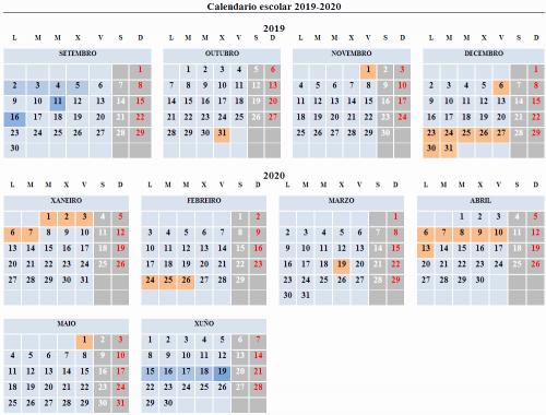 Calendario Escolar Galicia 2020 Y 2019.Ceip Ana Maria Dieguez