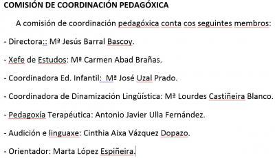 Membros da Comisión de Coordinación Pedagóxica