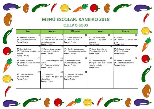 MENÚ DE XANEIRO