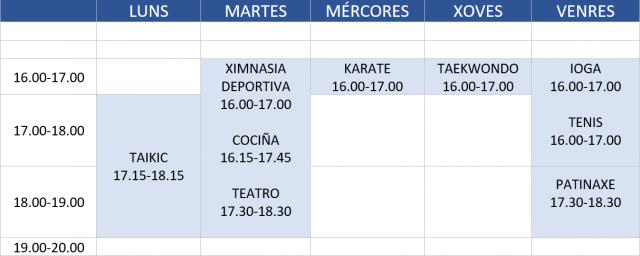 horario actividades