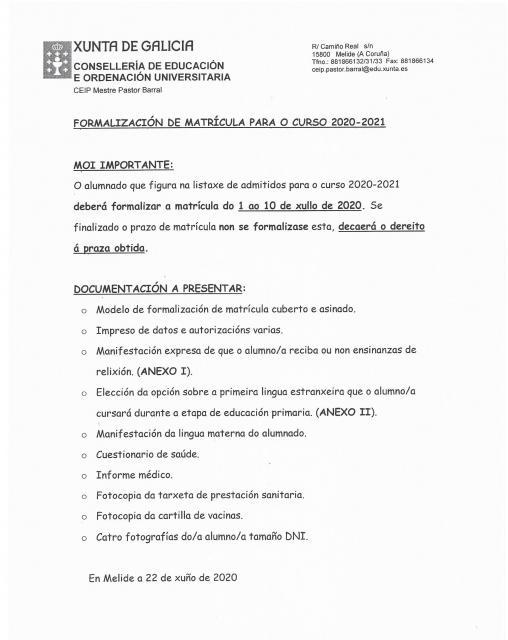 MATRÍCULA 2020-21