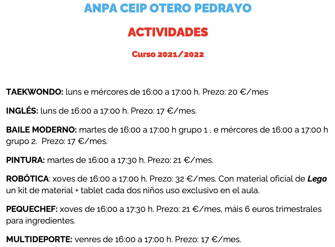 Actividades ANPA
