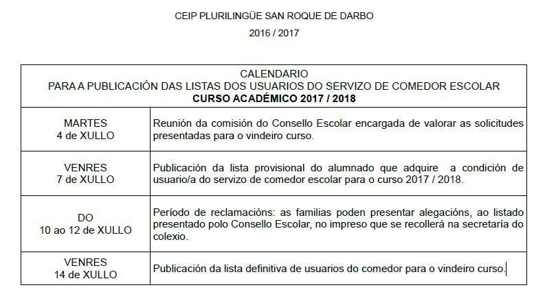 CALENDARIO PUBLICACIÓN LISTAS COMEDOR