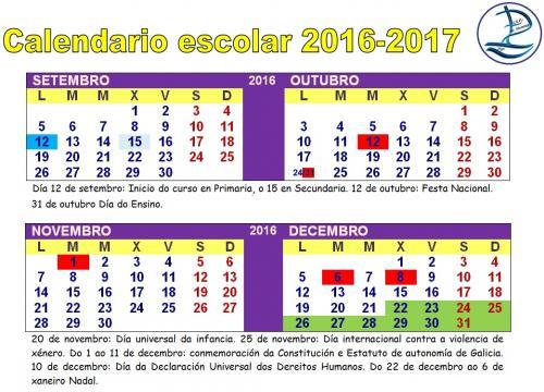Calendario Escolar Xunta.Calendario Escolar 2016 17