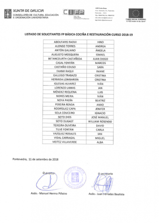 ADXUDICACIÓN PROVISIONAL FP BÁSICA DE COCIÑA E RESTAURACIÓN