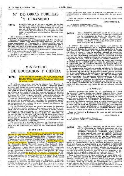 BOE 2 de xullo 1981 Creación do Instituto