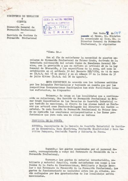 Creación da Sección Delegada 16 de setembro 1975
