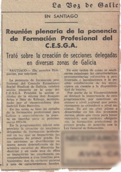 Recorte de prensa 16 de febreiro 1973