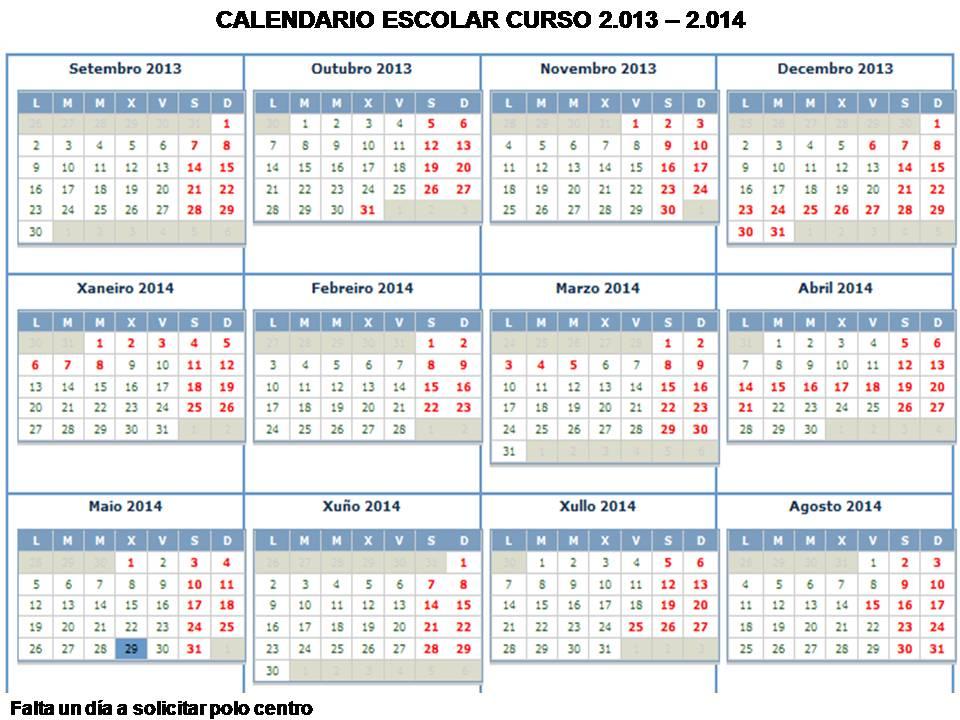 Calendario Politecnico.Calendario Escolar 2013 2014 Cifp Politecnico De Santiago