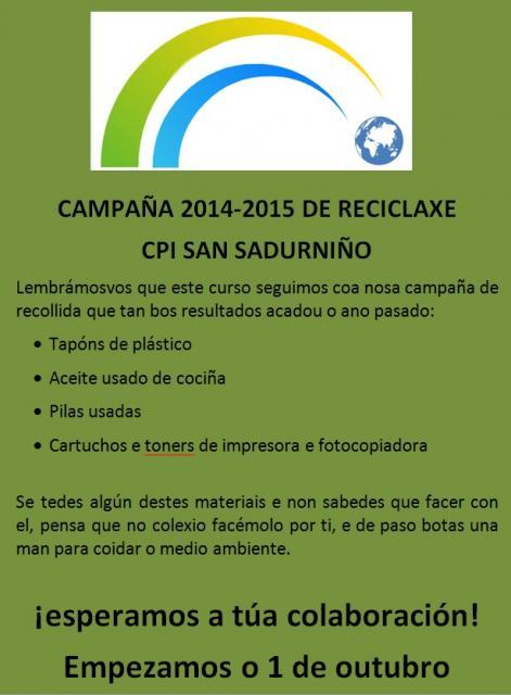 INICIO CAMPAÑA RECICLAXE 2014-2015