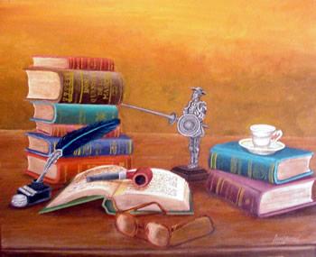 Imaxe con libros, unhas gafas e unha estatuilla do quixote