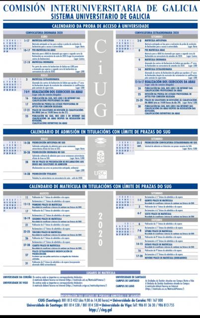 Calendario matrícula ABAU/ preinscripción y matrícula  SUG