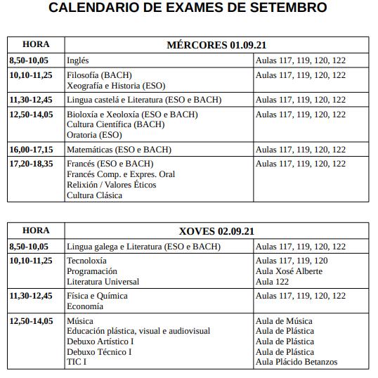 CALENDARIO DE EXAMES DE SETEMBRO