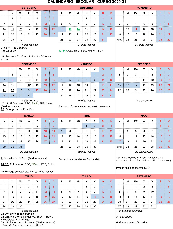 calendario escolar 2020-21