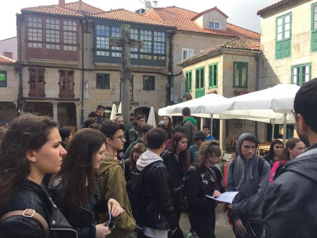 Alumnado na súa visita a Pontevedra