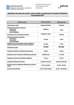 CALENDARIO PROBAS DE ACCESO A CICLOS FORMATIVOS