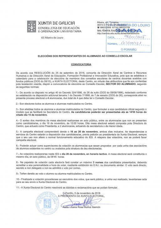 Información eleccións Consello Escolar Alumnado
