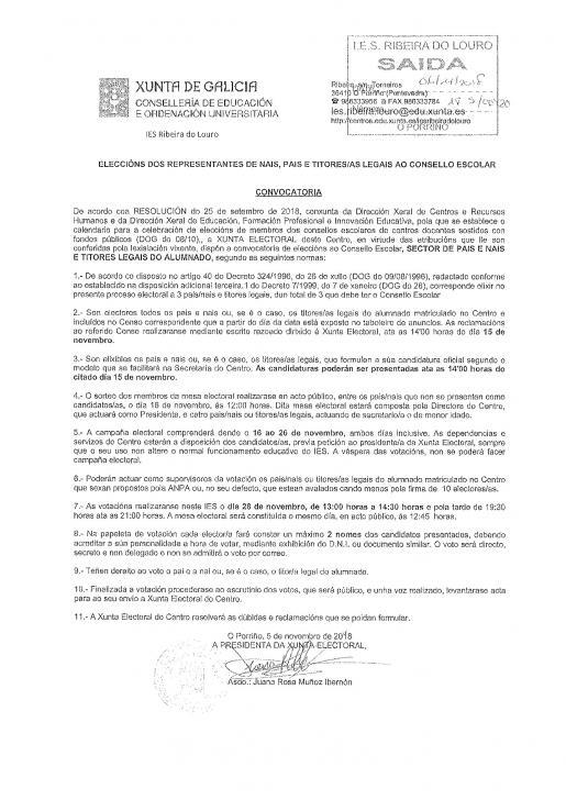 Información eleccións Consello Escolar para  Pais/Nais/Titores legais