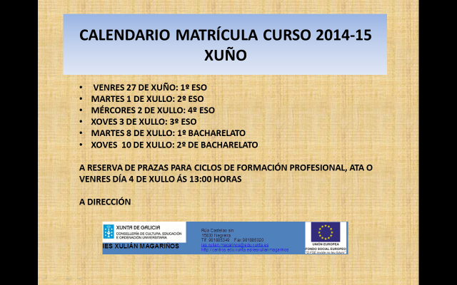 calendario de matrícula