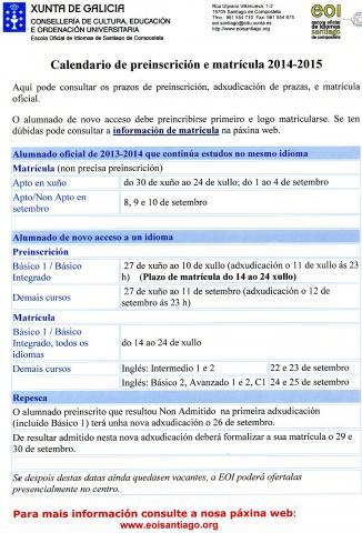 Calendario da sección idiomas