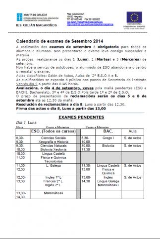 Calendario de probas de setembro 2014