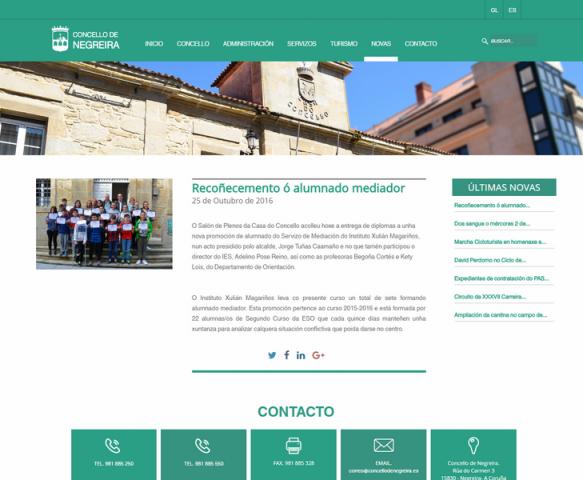 Páxina web Concello de negreira