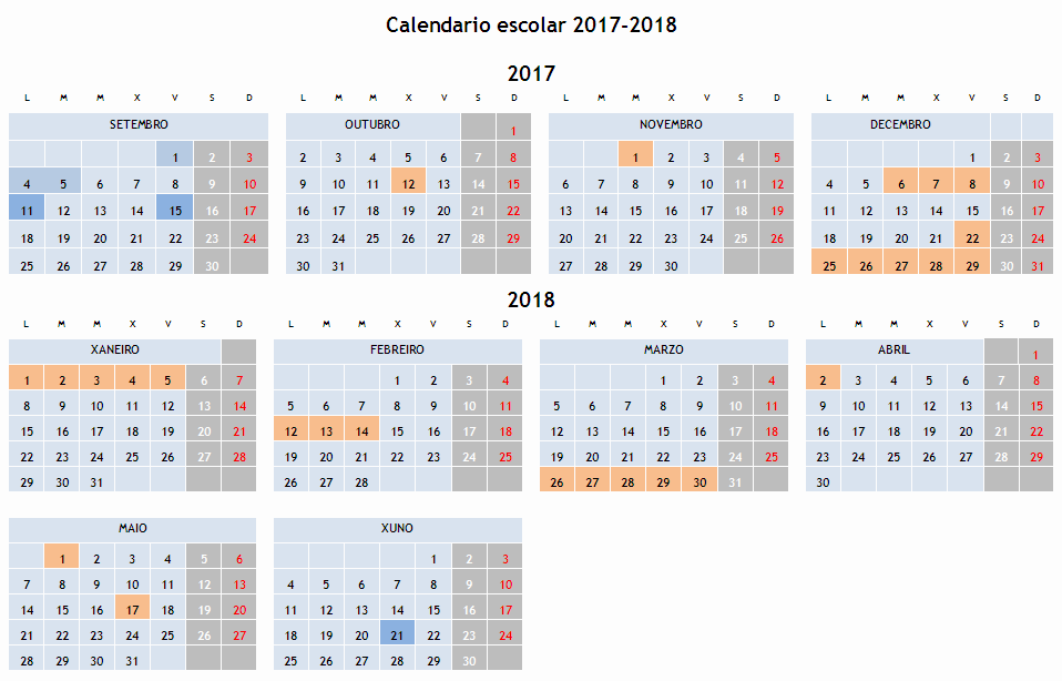 Image result for calendario escolar 2017-18
