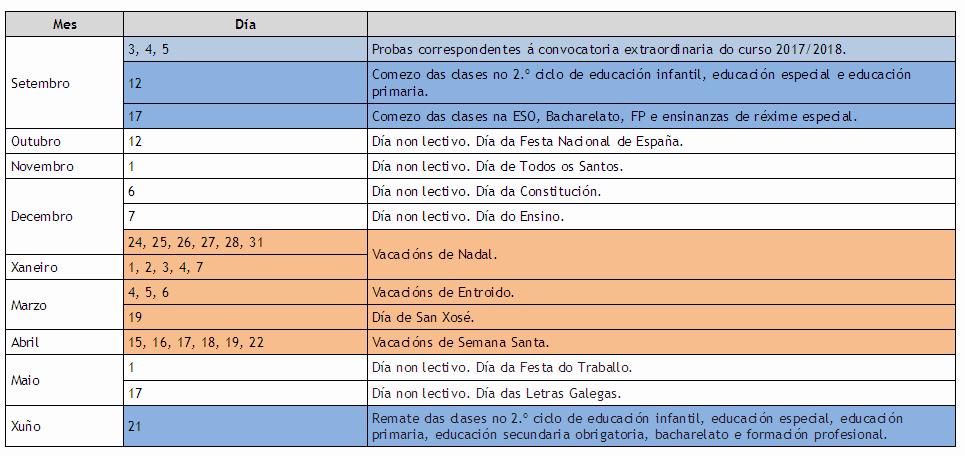 Calendario Escolar Xunta.Calendario Escolar 2018 2019 Conselleria De Educacion