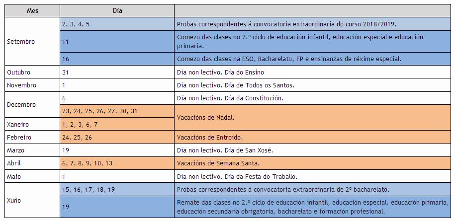Calendario Escolar Xunta.Calendario Escolar 2019 2020 Conselleria De Educacion